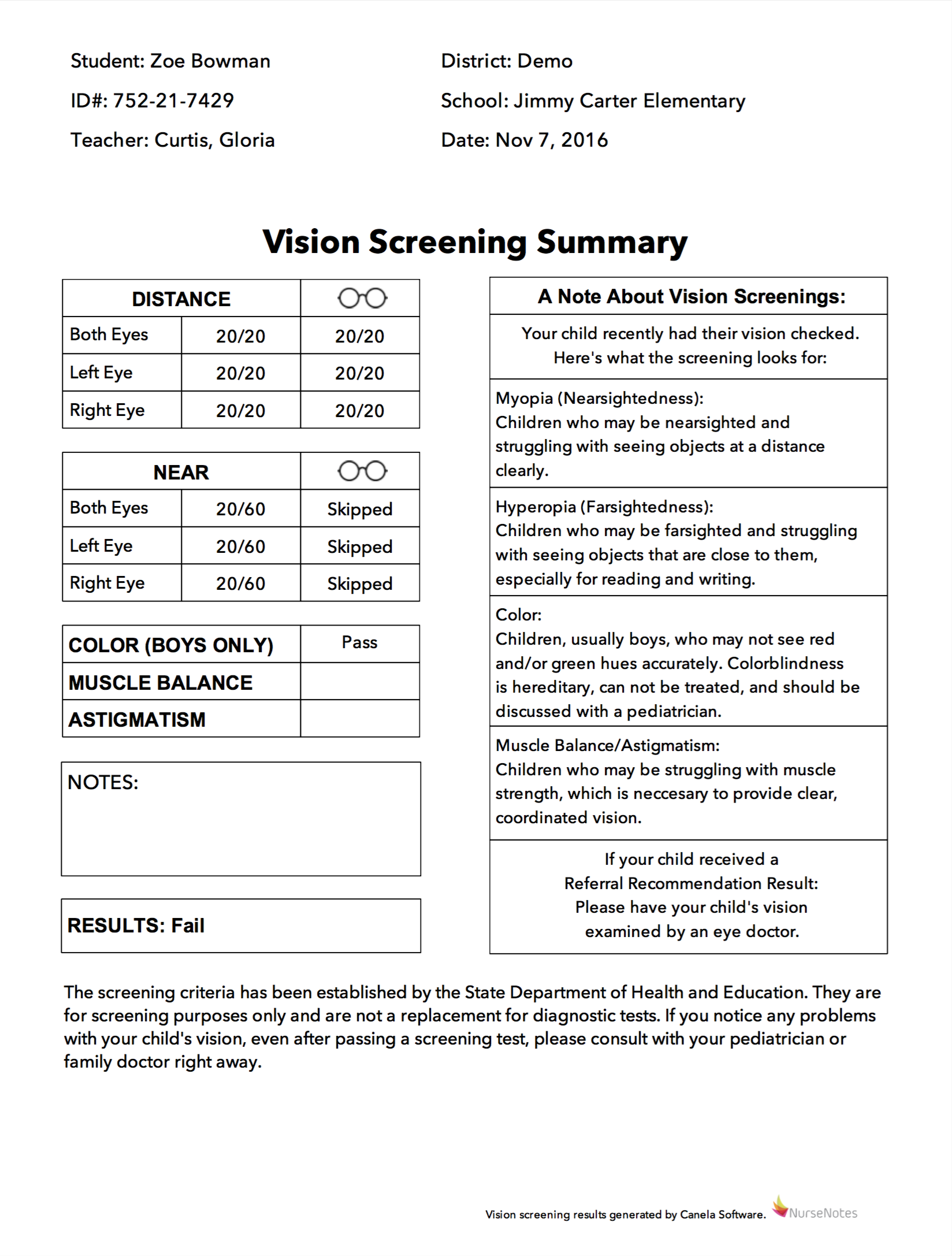 Vision Screening Summary